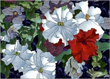 stained glass one red petunia