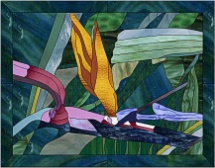 stained glass bird of paradise