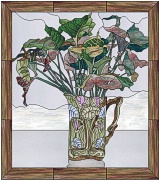 stained glass flora in art nouveau pitcher