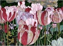 stained glass pink tulip garden