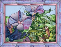 stained glass purple morning glories