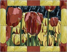stained glass red and yellow tulip garden