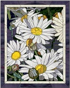 stained glass shasta daisies