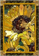 stained glass single sunflower