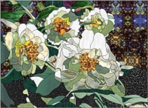 stained glass white camellias