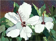 stained glass white hibiscus