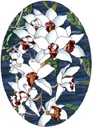 stained glass white orchids