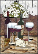 stained glass wine and floral lamp