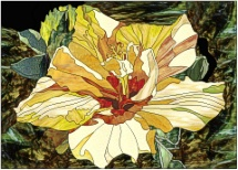 stained glass yellow hibiscus