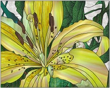 stained glass yellow lily