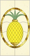 Stained Glass Cabinet Door Pattern Stylized Pineapple