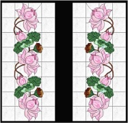 Stained Glass Cabinet Door Pattern Peony Splendor