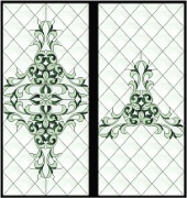 Stained Glass Cabinet Door Pattern Diamonds 'n Scrolls