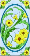 Stained Glass Cabinet Door Pattern Flower Power