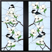 Stained Glass Cabinet Door Pattern Chickadees In Dogwood