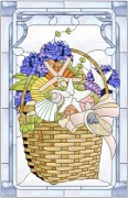 Stained Glass Cabinet Door Pattern Sea Shells & Flowers