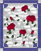 Stained Glass Cabinet Door Pattern Rose Garden