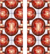 Stained Glass Cabinet Door Pattern Layered Ovals