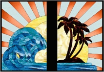 Stained Glass Cabinet Door Pattern Ocean Sunrise