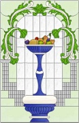Stained Glass Cabinet Door Pattern Fruit Still Life in Urn