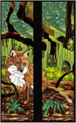 Stained Glass Cabinet Door Pattern Fox in Forest