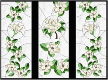 Stained Glass Cabinet Door Pattern Magnolia Blossoms
