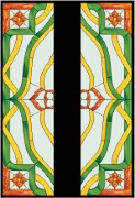 Stained Glass Cabinet Door Pattern Art Nouveau with Poinsettia Corners