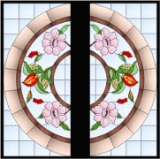 Stained Glass Cabinet Door Pattern Dogwood & Beatles