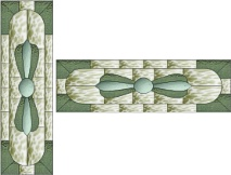 Stained Glass Cabinet Door Pattern Upright Propeller