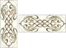 Stained Glass Cabinet Door Pattern Art Deco Scrolls