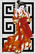 Stained Glass Cabinet Door Pattern Japanese Geisha