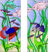 Stained Glass Cabinet Door Pattern Tropical Fish