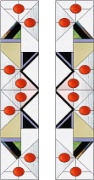 Stained Glass Cabinet Door Pattern Ovals & Triangles Abstract