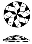 drawing of round double faceted glass jewel